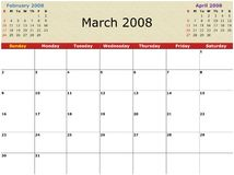 Monthly calendar. 2008 Year Monthly calendar with previous and next months Royalty Free Stock Photo