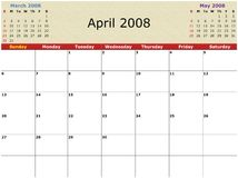 Monthly calendar. 2008 Year Monthly calendar with previous and next months Royalty Free Stock Images