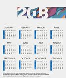Monthly calendar 2018 with an abstract design.. Winter, spring, summer, autumn seasons characters. Vector for planner. Monthly calendar 2018 with an abstract vector illustration