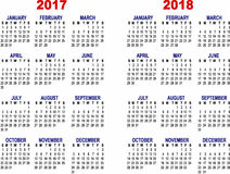 Monthly calendar for 2017 and 2018 Royalty Free Stock Photos