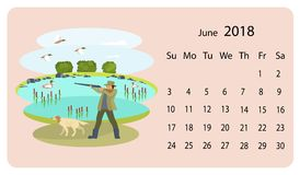 Monthly calendar 2018. With cute dogs and owners. Funny scenes with cute characters. Illustration for planner design, cards, printing, wallpaper with animals Stock Image
