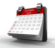 Monthly calendar 3d. 3d illustration of generic monthly calendar on white, october 2018 page Stock Images