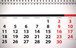 Monthly calendar. With dates and numbers Royalty Free Stock Photos