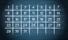 Monthly Calendar with 31 days Royalty Free Stock Photography