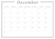 Monthly Calendar December 2017. Simple Calendar Design suitable for printing as Calendar Card and can also be used as planner Royalty Free Stock Photography