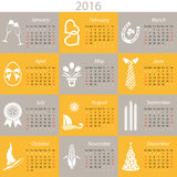 Monthly calendar for 2016. 2016 english calendar with months and holiday icons stock illustration