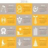Monthly calendar for 2016 Stock Photos