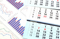 Monthly calendar and graphs Royalty Free Stock Photo