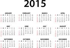 Monthly calendar for 2015. Calendar for 2015 isolated on white background. Starts Sunday Royalty Free Stock Image