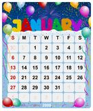 Monthly calendar - January 1. January 2008, US Style, start on Sunday, Monthly calendar royalty free illustration