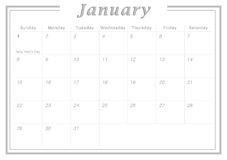 Monthly Calendar January 2017 Royalty Free Stock Photography
