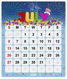 Monthly calendar - July 1. July 2008, US Style, start on Sunday, Monthly calendar Royalty Free Stock Image