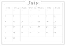 Monthly Calendar July 2017. Simple Calendar Design suitable for printing as Calendar Card and can also be used as planner Royalty Free Stock Photo