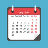 Monthly calendar, July 2017. Monthly calendar for July 2017. Week starts on Monday. Time, planning and schedule concept. Flat design. Vector illustration. EPS 8 Stock Image