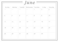 Monthly Calendar June 2017. Simple Calendar Design suitable for printing as Calendar Card and can also be used as planner Stock Photos