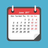 Monthly calendar, June 2017. Monthly calendar for June 2017. Week starts on Monday. Time, planning and schedule concept. Flat design. Vector illustration. EPS 8 Stock Image