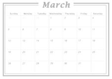 Monthly Calendar March 2017. Simple Calendar Design suitable for printing as Calendar Card and can also be used as planner Stock Image