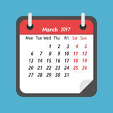 Monthly calendar, March 2017. Monthly calendar for March 2017. Week starts on Monday. Time, planning and schedule concept. Flat design. Vector illustration. EPS royalty free illustration