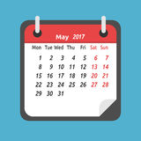 Monthly calendar, May 2017. Monthly calendar for May 2017. Week starts on Monday. Time, planning and schedule concept. Flat design. Vector illustration. EPS 8 stock illustration