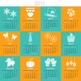 Monthly calendar for 2015. 2015 calendar with months and  holiday icons Royalty Free Stock Images