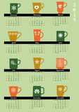 Monthly calendar for 2015. Monthly calendar 2015 with mugs, English, start Sunday Vector Illustration