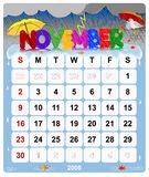 Monthly calendar - November 1 Royalty Free Stock Photos
