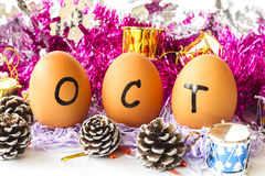 Monthly calendar - October Royalty Free Stock Photos