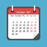Monthly calendar, October 2017. Monthly calendar for October 2017. Week starts on Monday. Time, planning and schedule concept. Flat design. Vector illustration Stock Photography