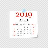 Monthly calendar 2019 with page curl. Tear-off calendar for April. White background. Vector illustration. Monthly calendar 2019 with page curl. Tear-off calendar royalty free illustration