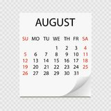 Monthly calendar 2018 with page curl. Tear-off calendar for August. White background. Royalty Free Stock Image