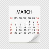 Monthly calendar 2018 with page curl. Tear-off calendar for March. White background. Vector illustration royalty free illustration