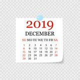 Monthly calendar 2019 with page curl. Tear-off calendar for December. White background. Vector illustration. Monthly calendar 2019 with page curl. Tear-off royalty free illustration