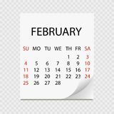 Monthly calendar 2018 with page curl. Tear-off calendar for February. White background. Vector illustration Royalty Free Illustration