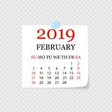 Monthly calendar 2019 with page curl. Tear-off calendar for February. White background. Vector illustration. Monthly calendar 2019 with page curl. Tear-off stock illustration