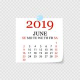 Monthly calendar 2019 with page curl. Tear-off calendar for June. White background. Vector illustration. Monthly calendar 2019 with page curl. Tear-off calendar royalty free illustration