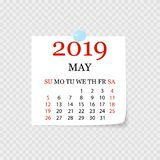 Monthly calendar 2019 with page curl. Tear-off calendar for May. White background. Vector illustration. Monthly calendar 2019 with page curl. Tear-off calendar vector illustration