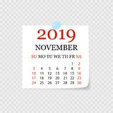 Monthly calendar 2019 with page curl. Tear-off calendar for November. White background. Vector illustration. Monthly calendar 2019 with page curl. Tear-off royalty free illustration