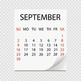 Monthly calendar 2018 with page curl. Tear-off calendar for September. White background. Vector illustration Royalty Free Stock Photos