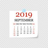 Monthly calendar 2019 with page curl. Tear-off calendar for September. White background. Vector illustration. Monthly calendar 2019 with page curl. Tear-off vector illustration