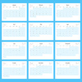 Monthly Calendar Planner for 2016. Print Template Set of 12 Months. Week Starts Sunday. Vector Illustration Royalty Free Stock Image
