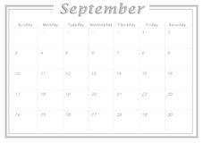 Monthly Calendar September 2017. Simple Calendar Design suitable for printing as Calendar Card and can also be used as planner Stock Image