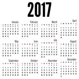 Monthly Calendar for 2017 Stock Photography