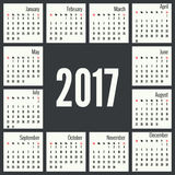 Monthly Calendar for 2017 Royalty Free Stock Photo