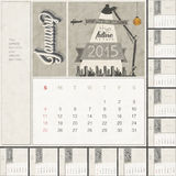 2015 Monthly calendar template. Free space for personalized picture and text design. Retro vintage style calendar. Typographic and calligraphic monthly headline Royalty Free Stock Photo