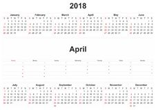 2018 monthly calendar with white background. 2018 a monthly calendar with white background Stock Photography