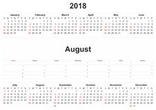 2018 monthly calendar with white background. 2018 a monthly calendar with white background Royalty Free Stock Photo