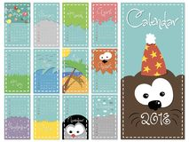 Monthly calendar for 2018 year of a dog vector royalty free illustration