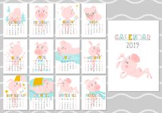 Monthly creative calendar 2019 with cute pig. Concept, vector vertical editable template. Symbol of the year in the. Chinese calendar. Funny cartoon characters vector illustration