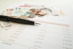 Monthly Expenditure Budgeting, British Pound Sterling Stock Photo