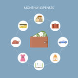 Monthly Expenses Concept. Personal finance concept. Monthly expenses background. Saving the family budget. Vector illustration flat style Royalty Free Stock Photo